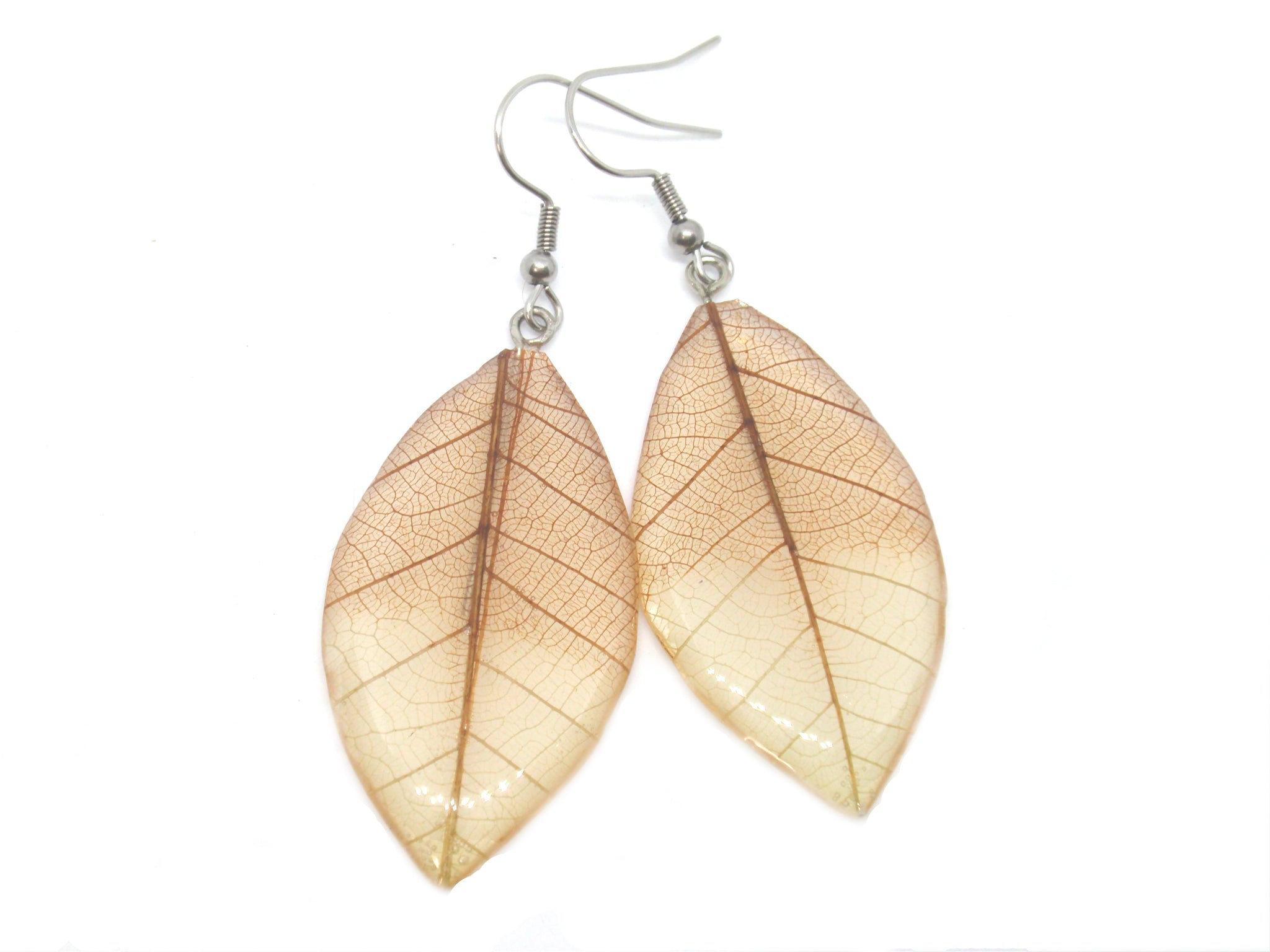 Skeleton leaf earrings