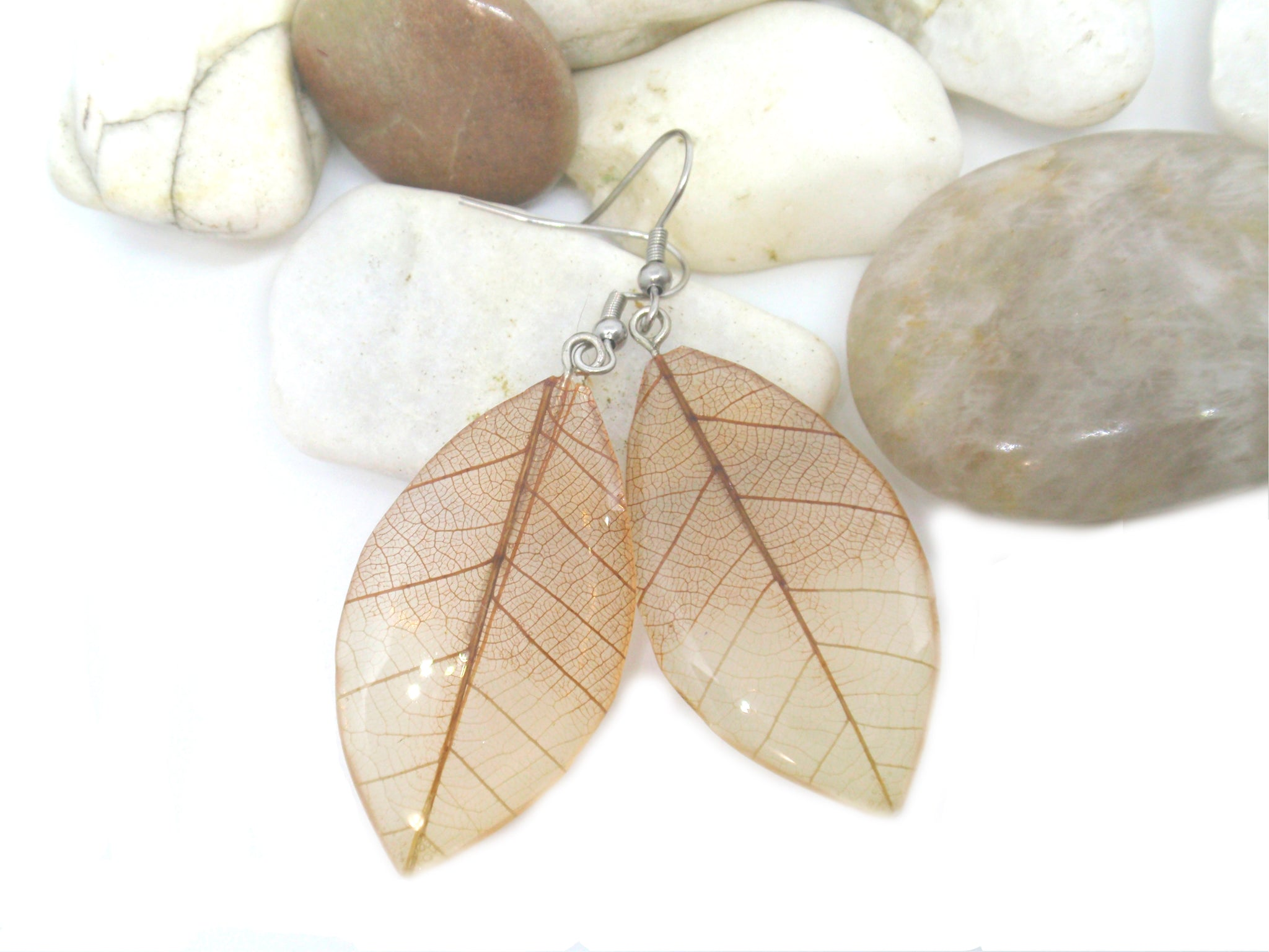 Skeleton leaf earrings Botanical drop earrings