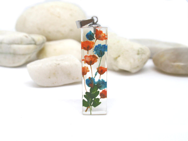 Blue and orange Baby's breath terrarium necklace