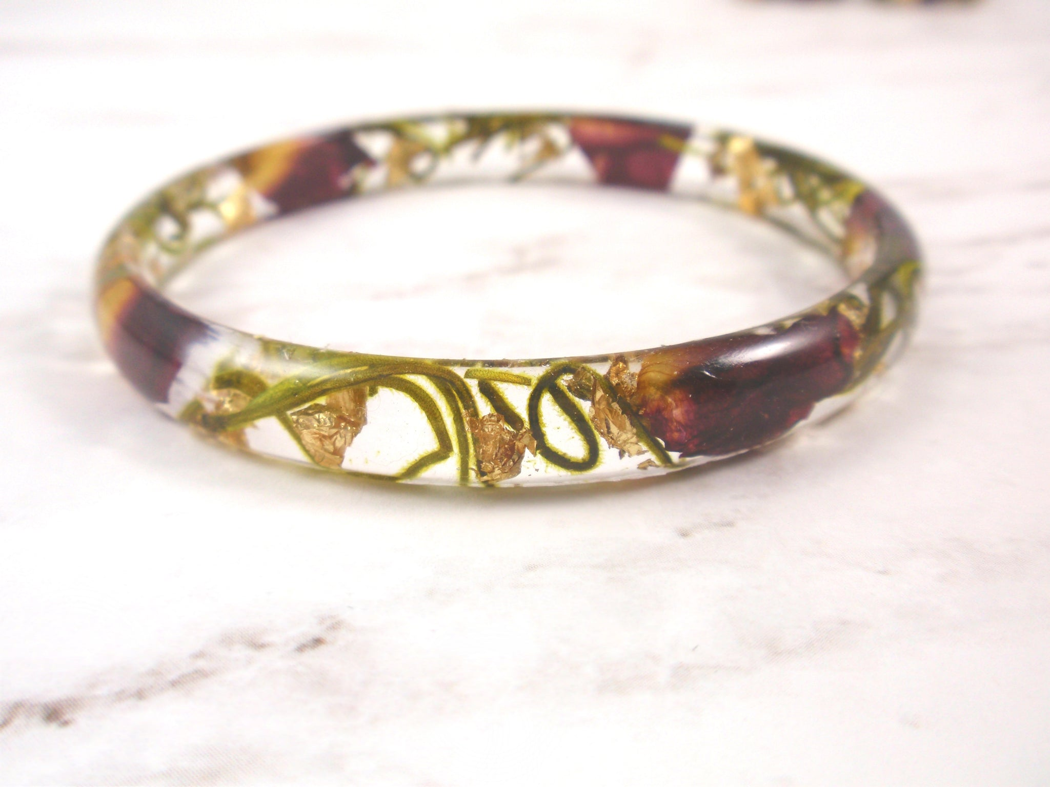 Red rose petals gold flakes Bangle Bracelet