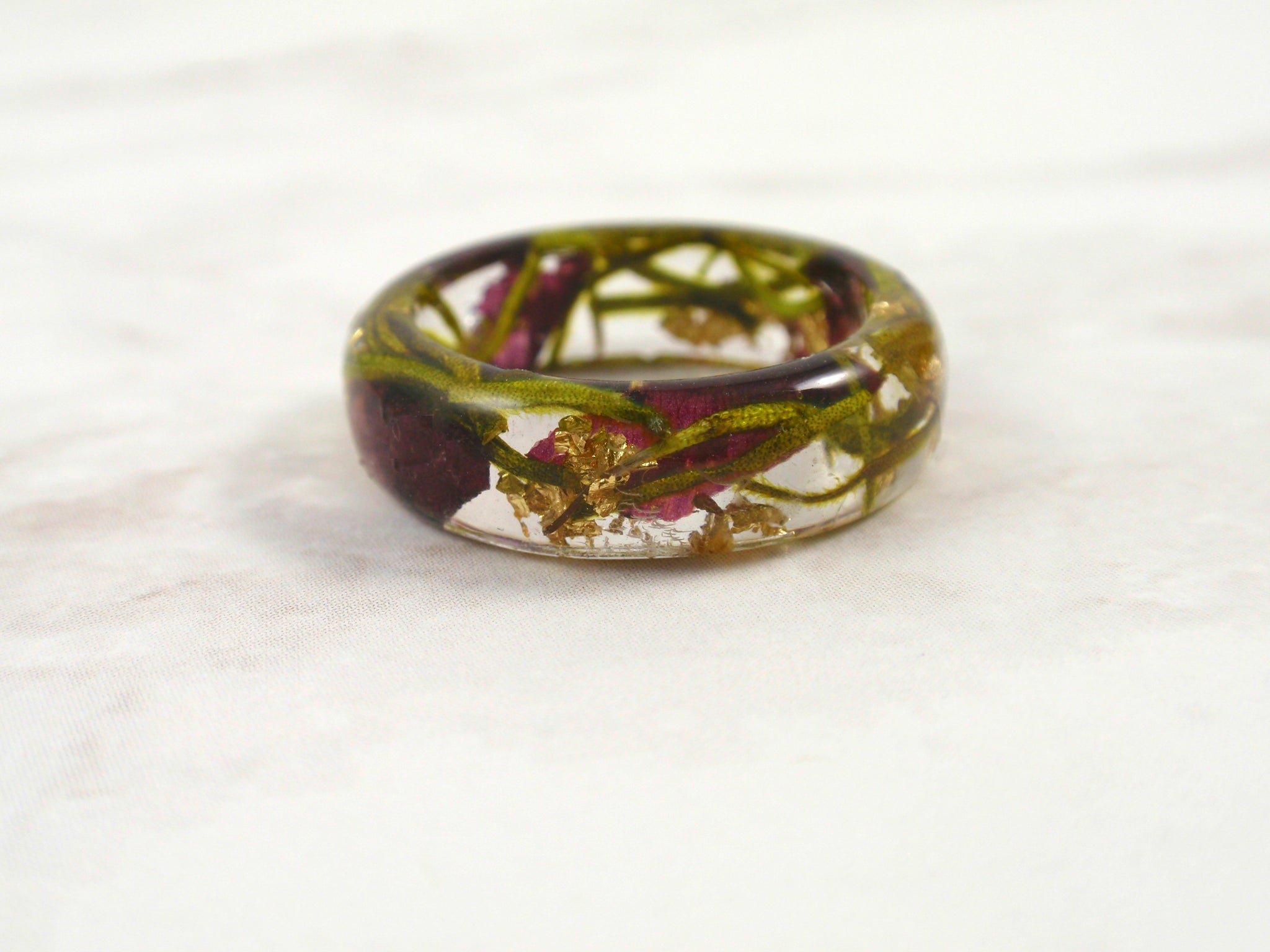 Handmade resin ring with real rose petals