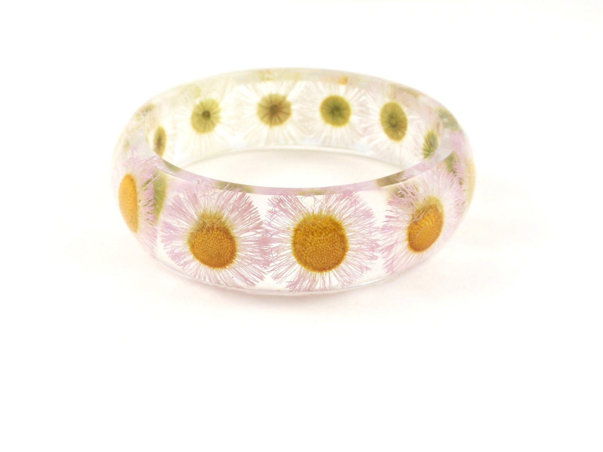 Real Daisy botanical bangle Bracelet, Eco Resin flower Bracelet