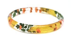 Real Flower Bracelet, Skinny Stacking Bangle Autumn jewelry
