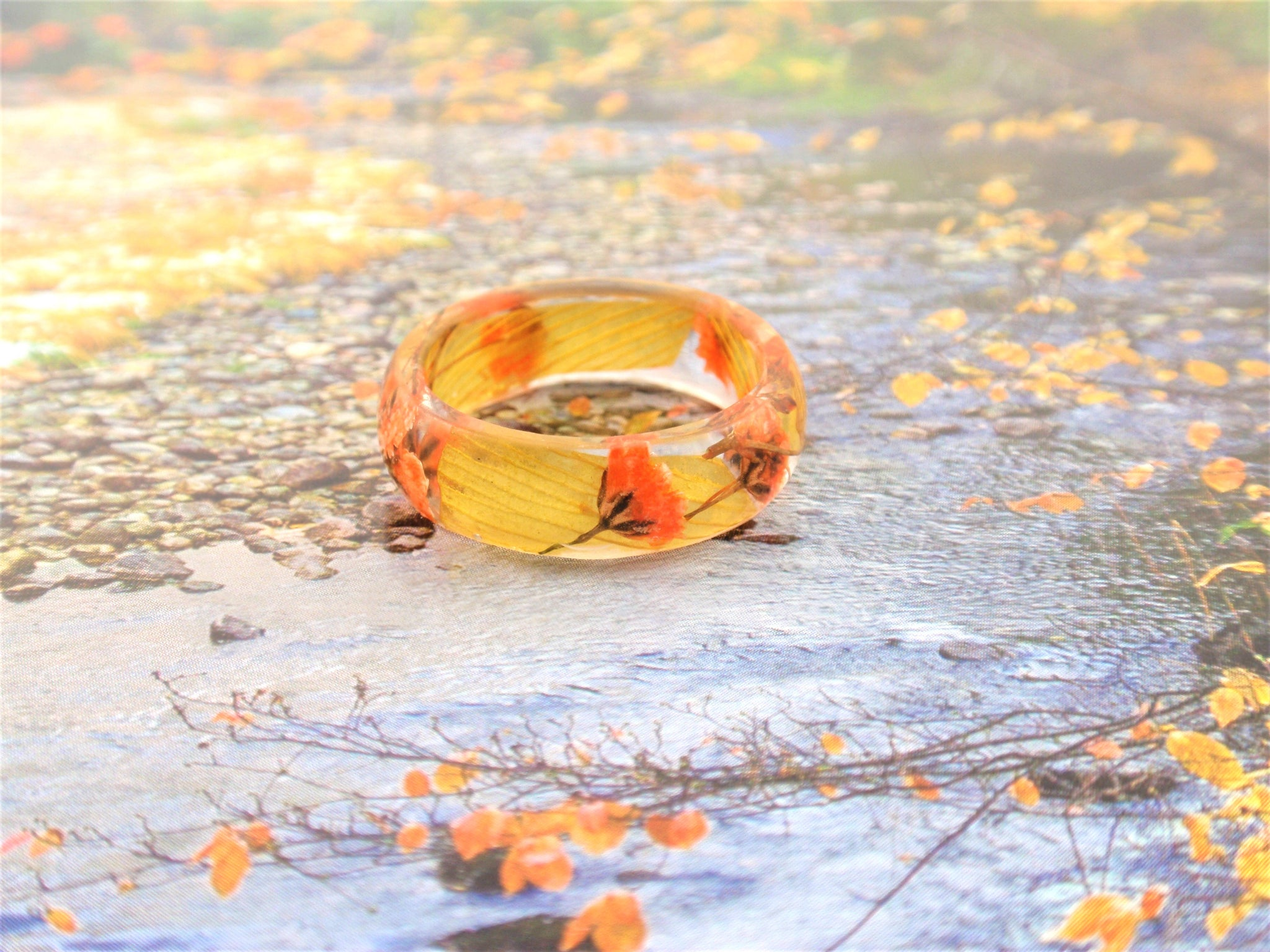 Real flower Resin ring