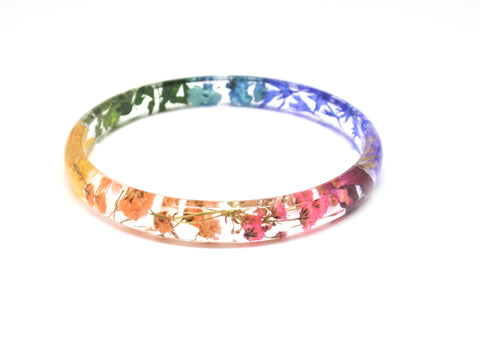 Rainbow Skinny Stacking Bangle, Handmade real flower bangle