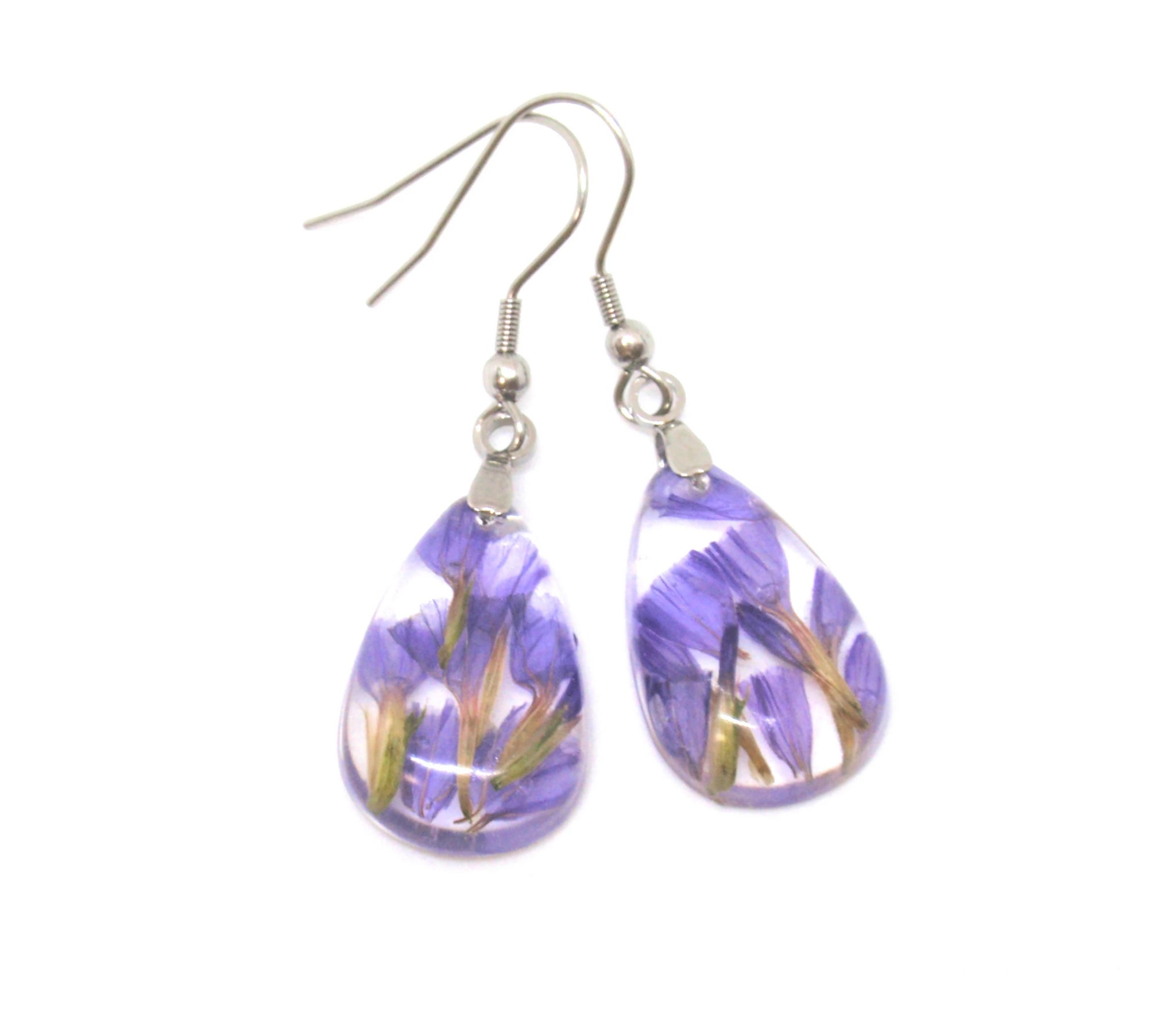 Real flower Resin Earrings, Purple flower earrings