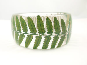 Green Fern Resin Bangle Bracelet, Real Flower Resin Bracelet