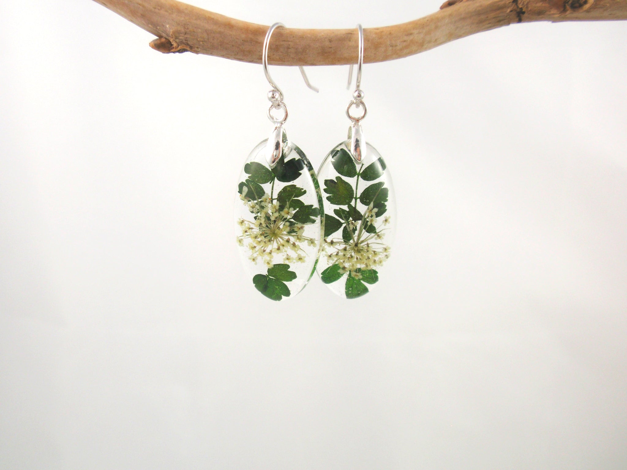 Botanical Earrings, Queen Anne's lace and leaves jewelry