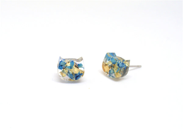 Real flower stud earrings, Post resin earring cat head