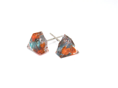 Tiny Triangle Studs, Handmade Post resin earring with real flowers