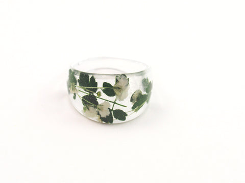 Botanical ring, Nature ring, Pressed flower jewelry, Green ring