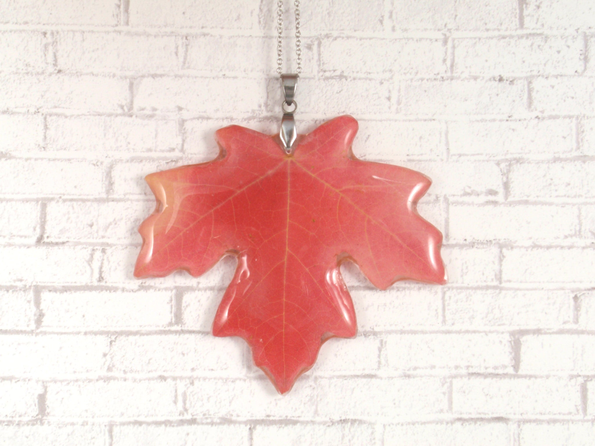 Maple leaf necklace , autumn jewelry