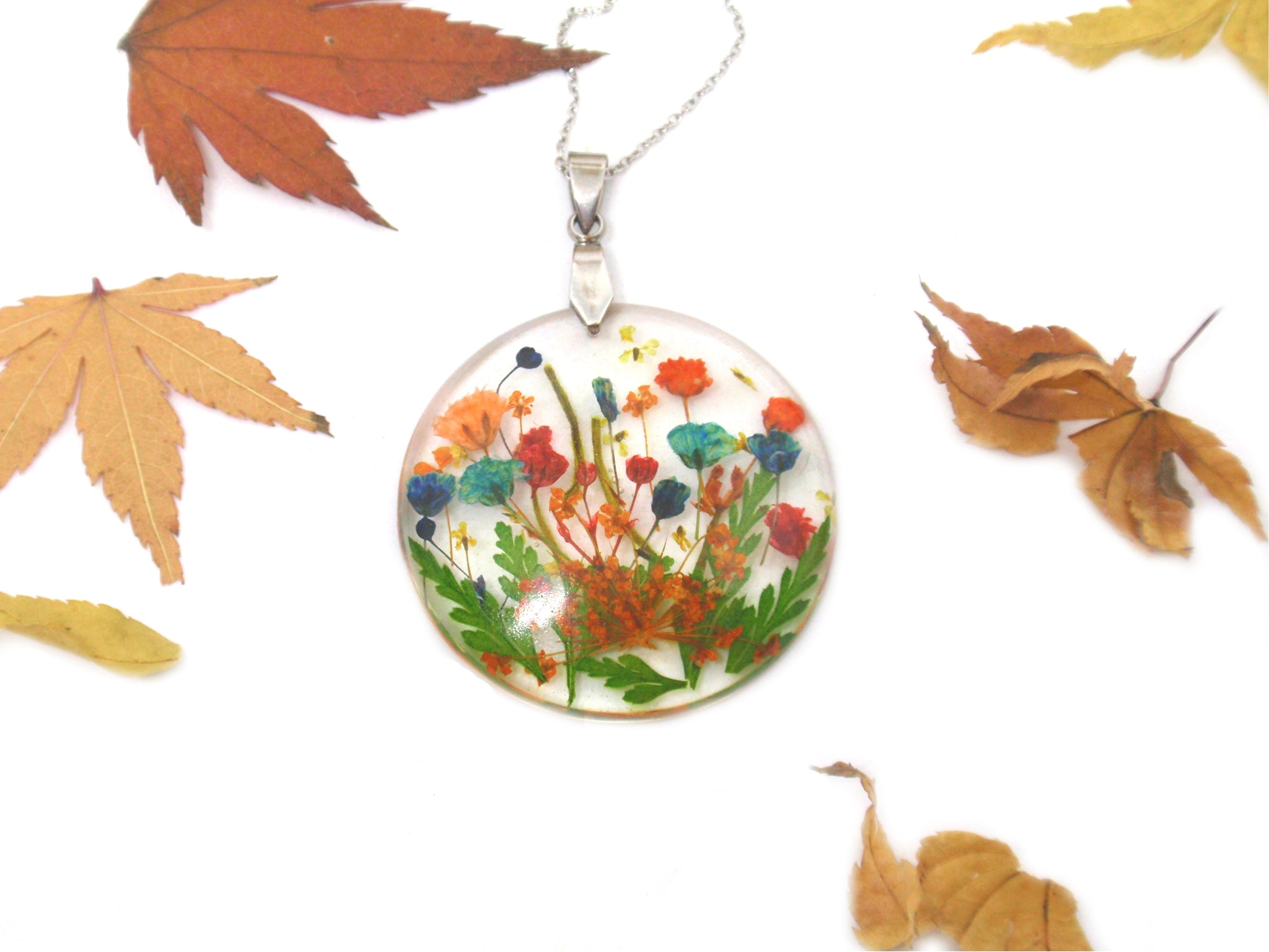Garden necklace - wildflowers autumn jewelry