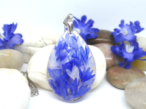 Blue Cornflower petals teardrop resin necklace