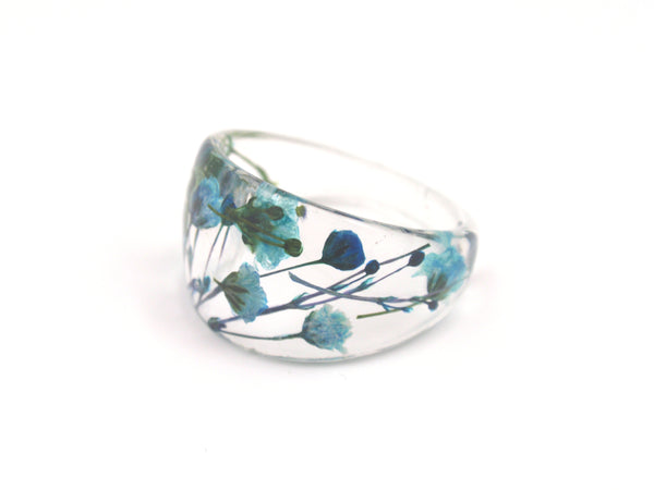Real flower Resin ring, Blue ring, bridesmaid Jewelry