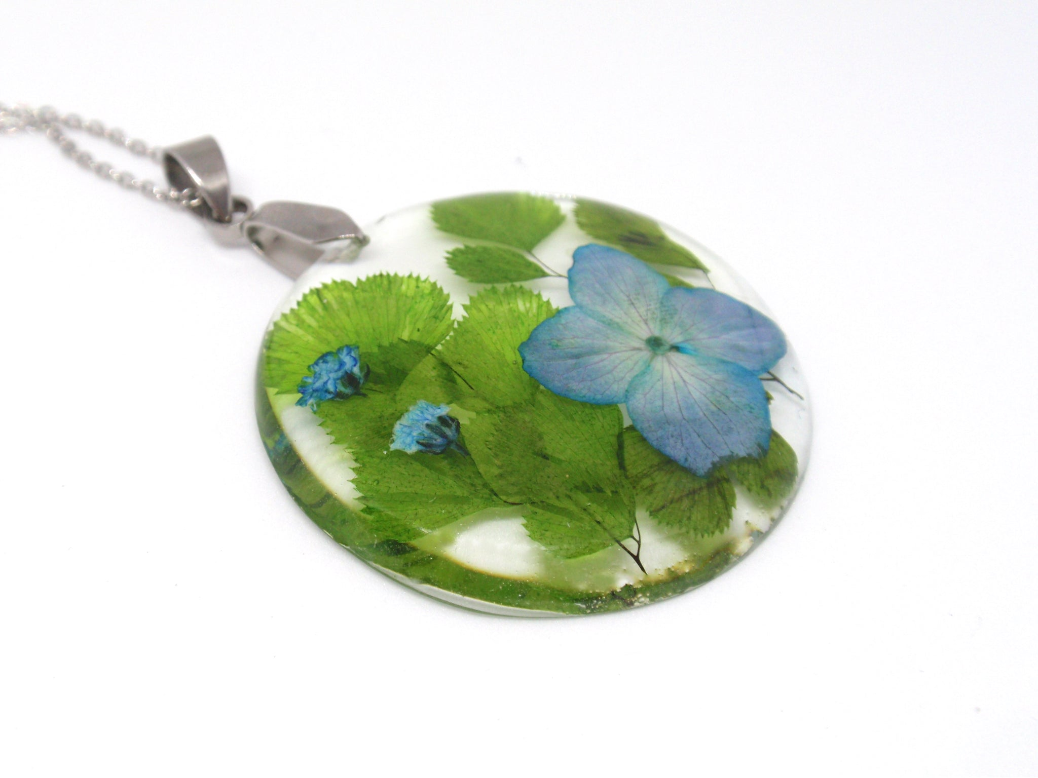 Handmade Flower Resin Necklace, Blue Hydrangea flower jewelry