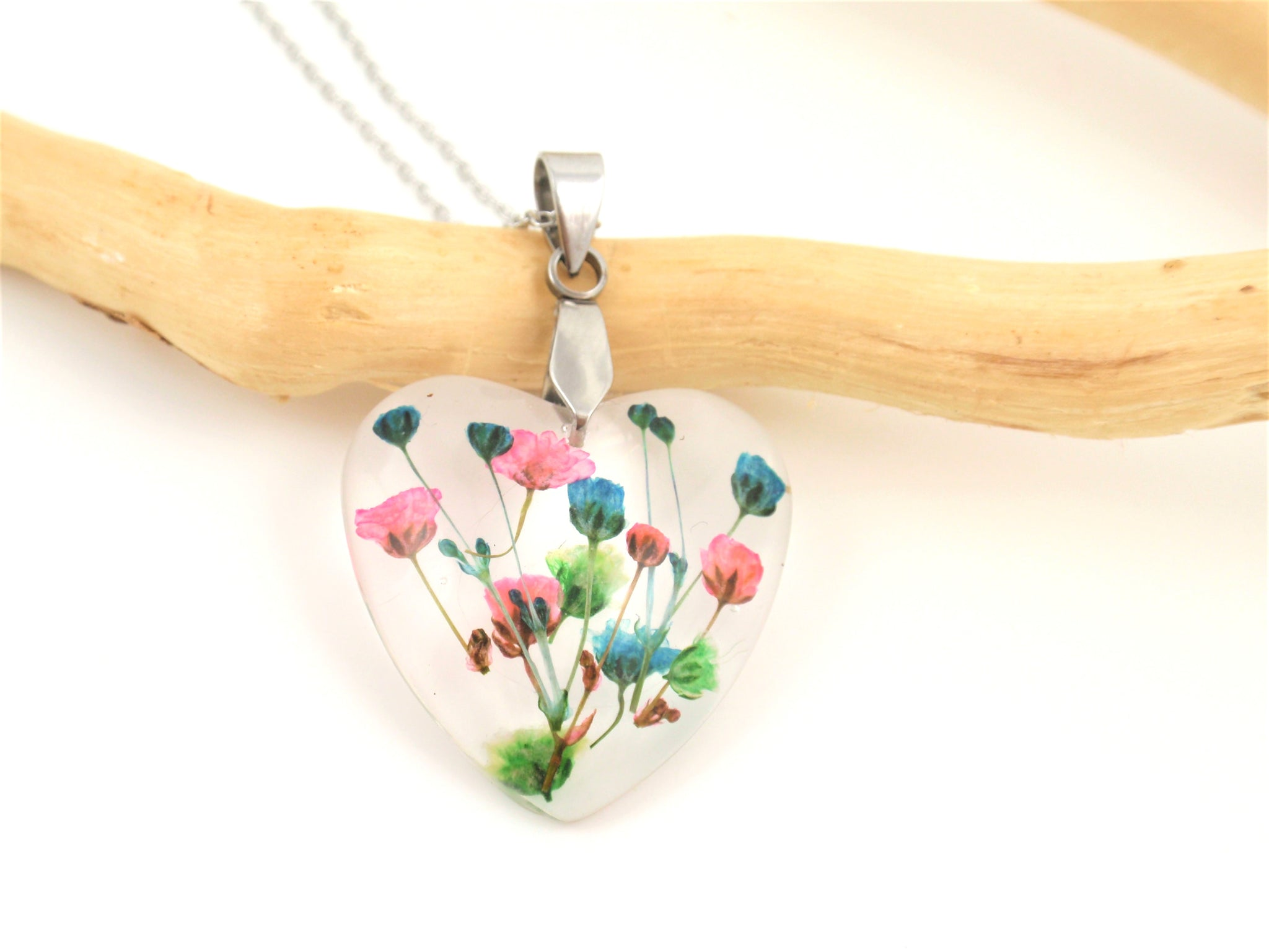 Real Flower Heart shape Necklace, Blue and pink flower resin jewelry
