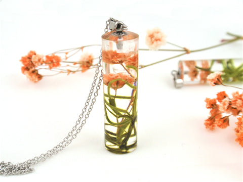 Terrarium Necklace, Real Flower and moss Resin Necklace