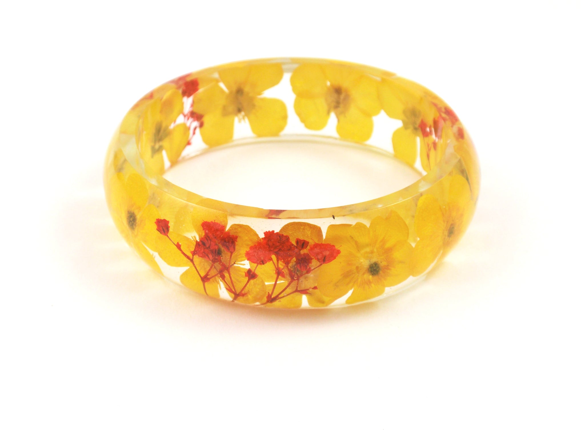 Yellow Buttercup bangle Bracelet, Resin Bracelet real flowers