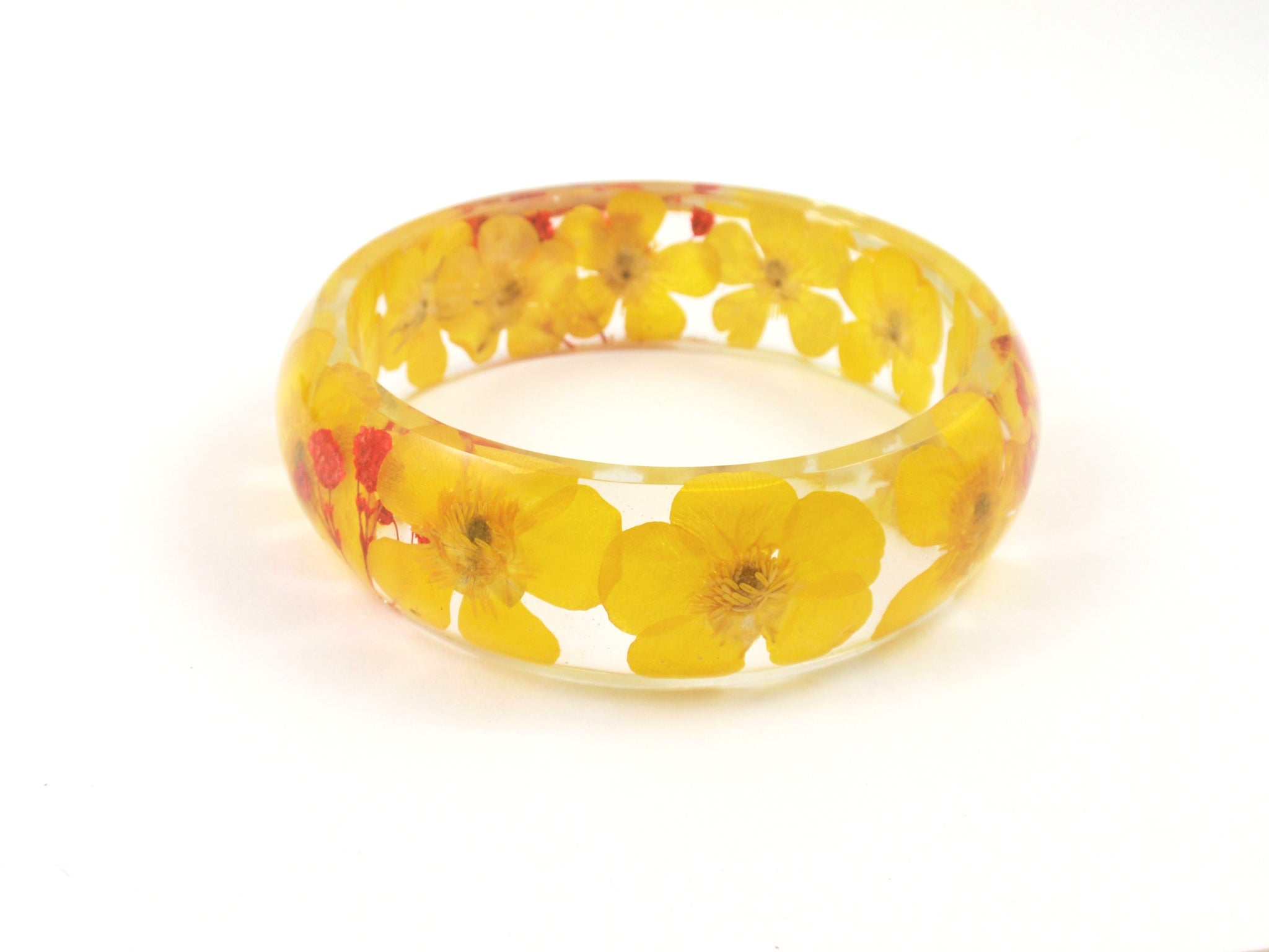 Yellow Buttercup bangle Bracelet  smile with flower