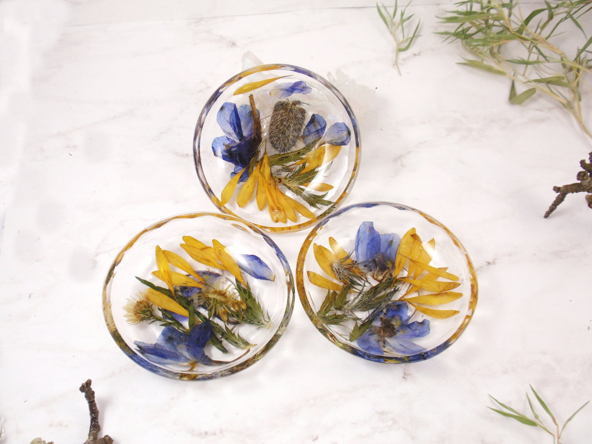Custom made home decor trinket dish with your flowers