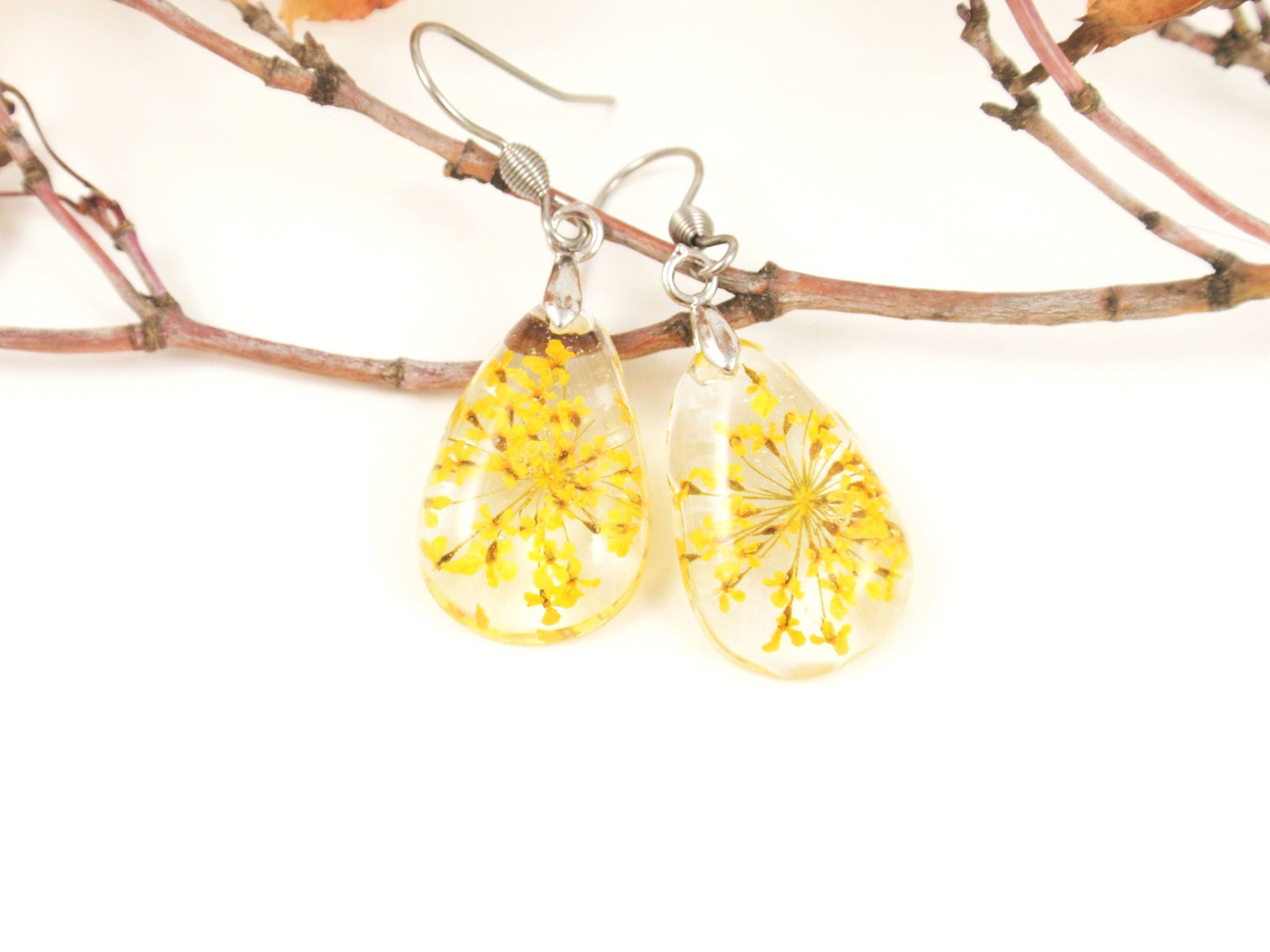 Handmade Pressed Flower earrings, Yellow flower earrings