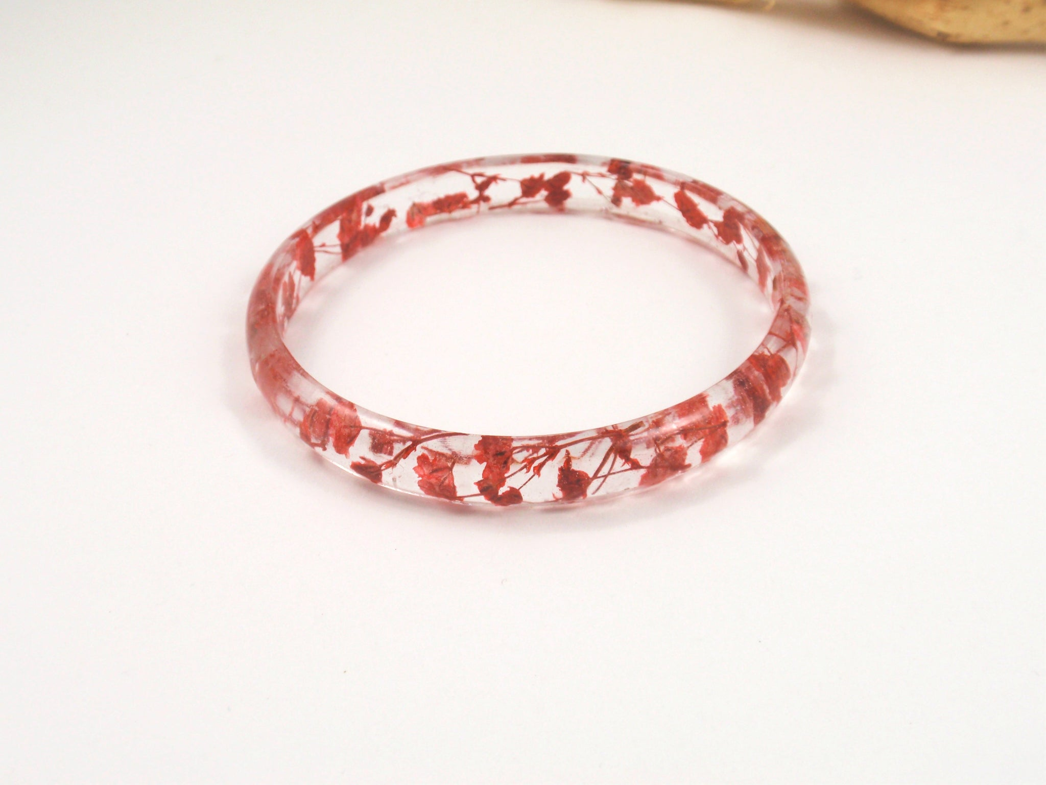 Red pressed flower resin bangle Bracelet, Botanical bracelet