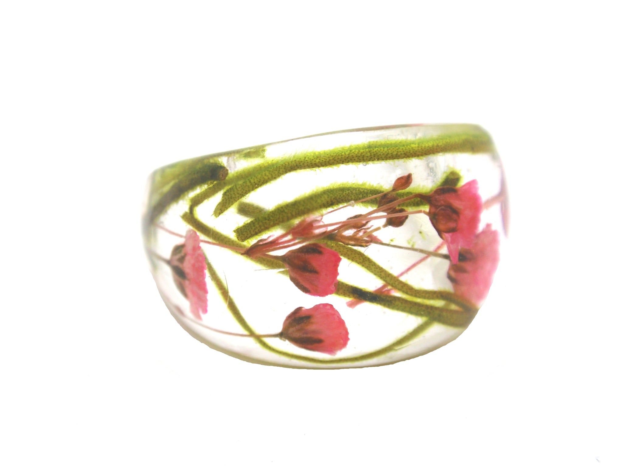 Botanical ring with real flowers- Baby's breath and moss