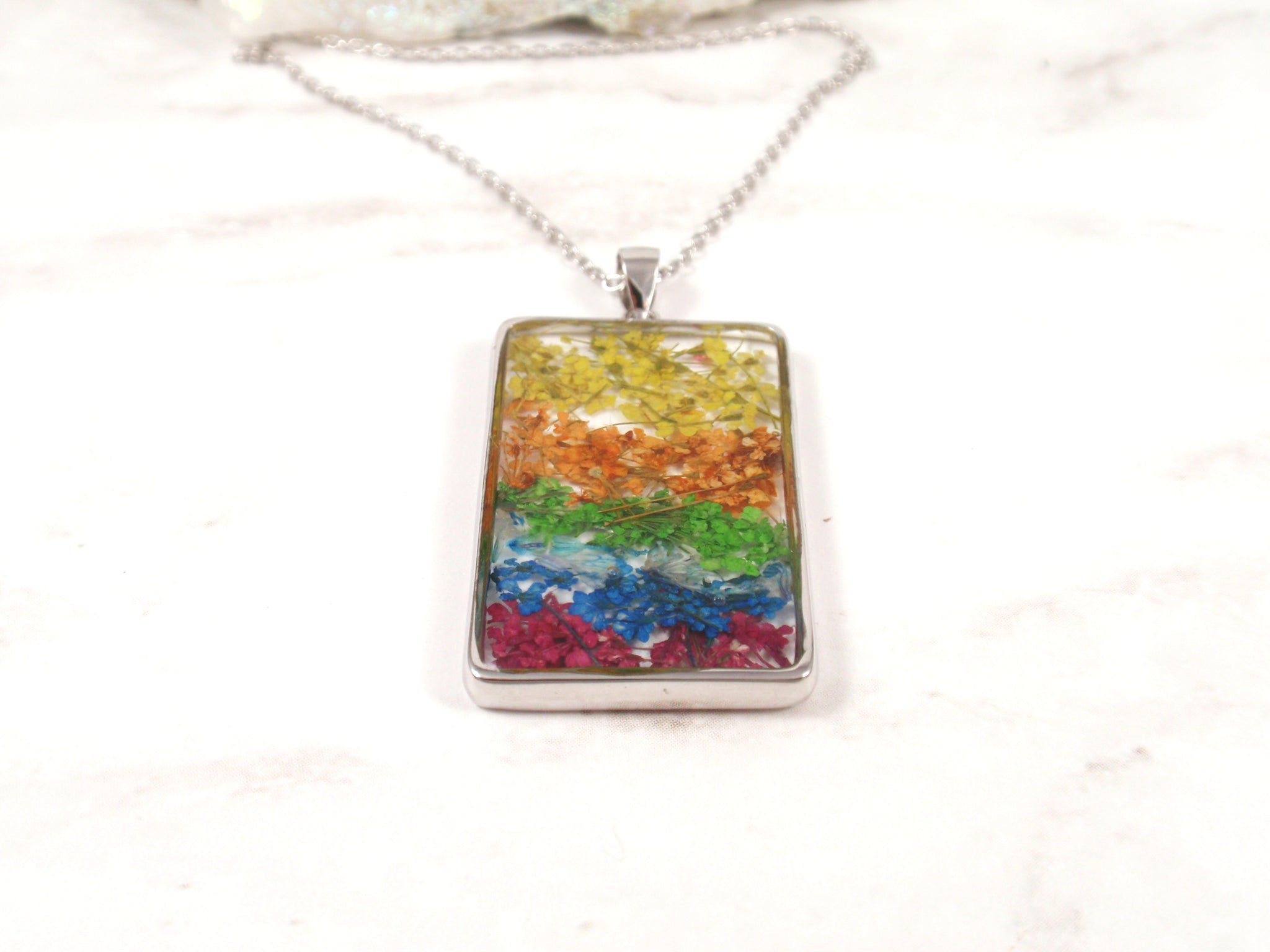 Rainbow flower necklace Handmade Rectangle pendant real flower