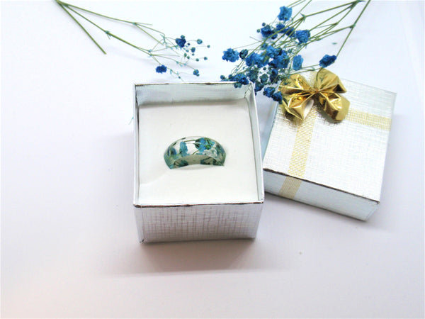 Real flower Resin Ring, Nature band ring, Blue flowers