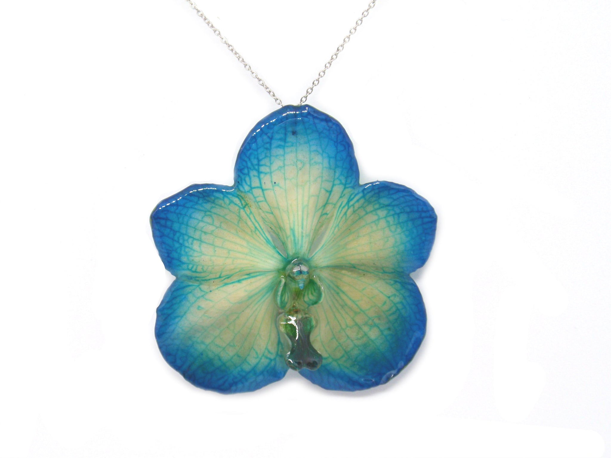 Vanda Orchid Jewelry Necklace Blue