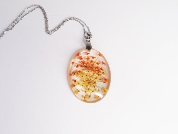 Real Flower Necklace, Orange and Yellow Queen Anne's Lace resin jewelry