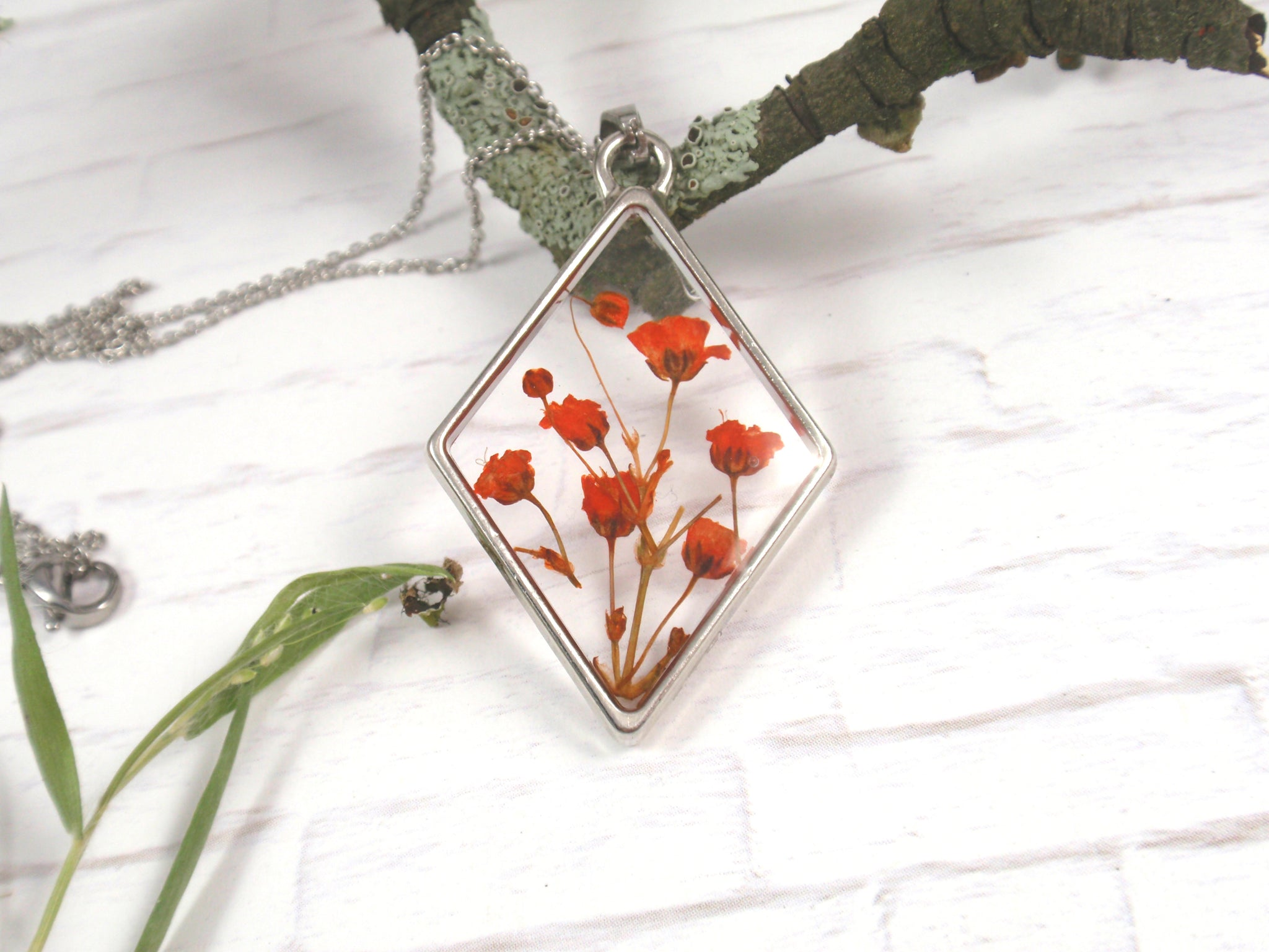 Tiny Pressed flowers Rhombus necklace real flower necklace