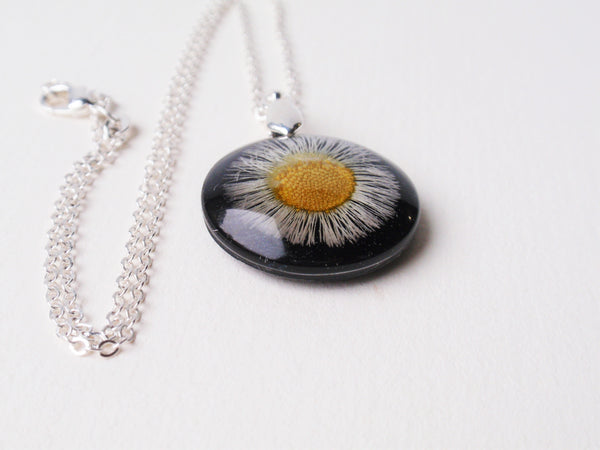 Aster set into Black Resin Botanical Pendant, September Birth month flower