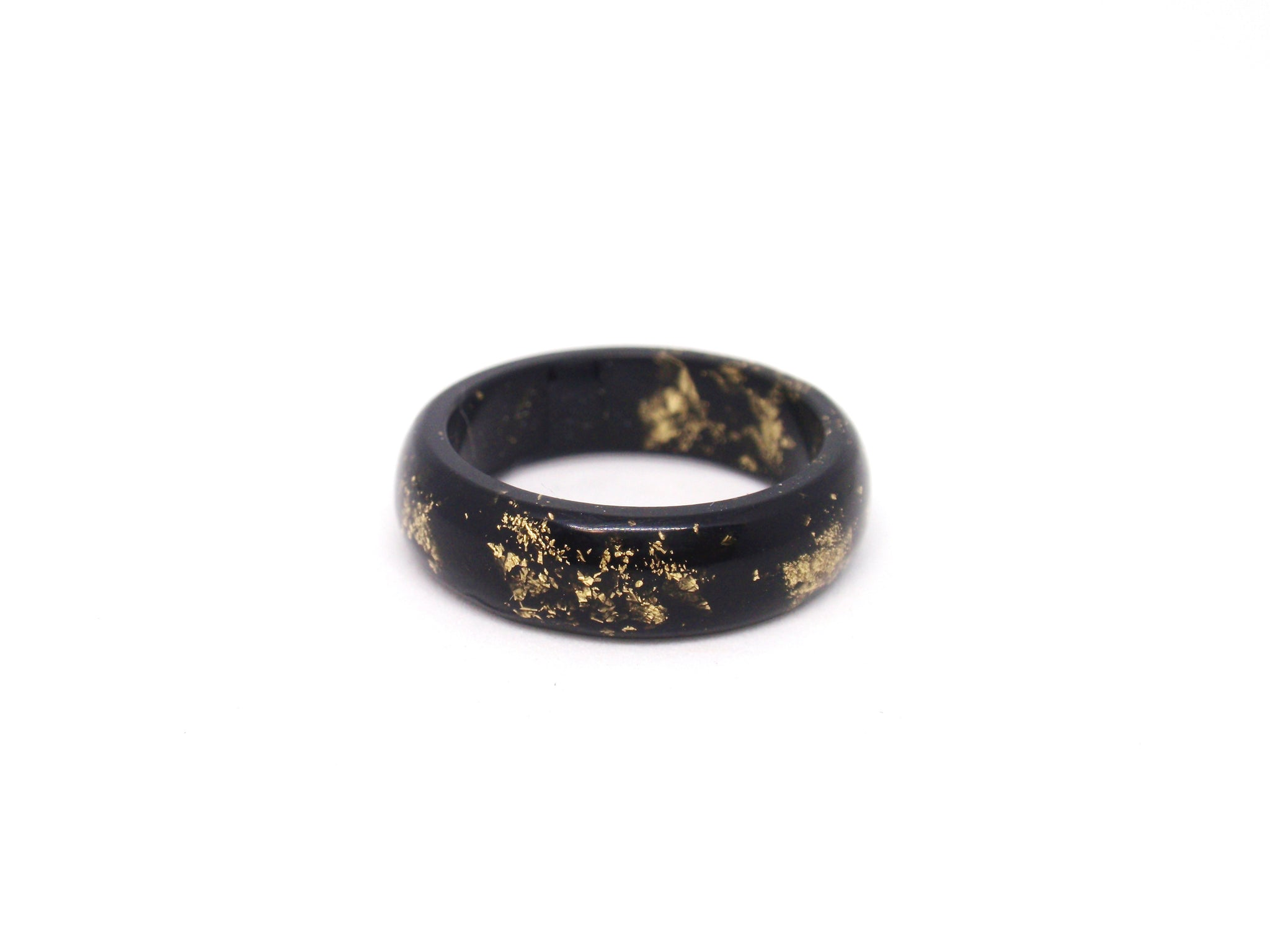 Black resin ring with gold flakes unisex band ring