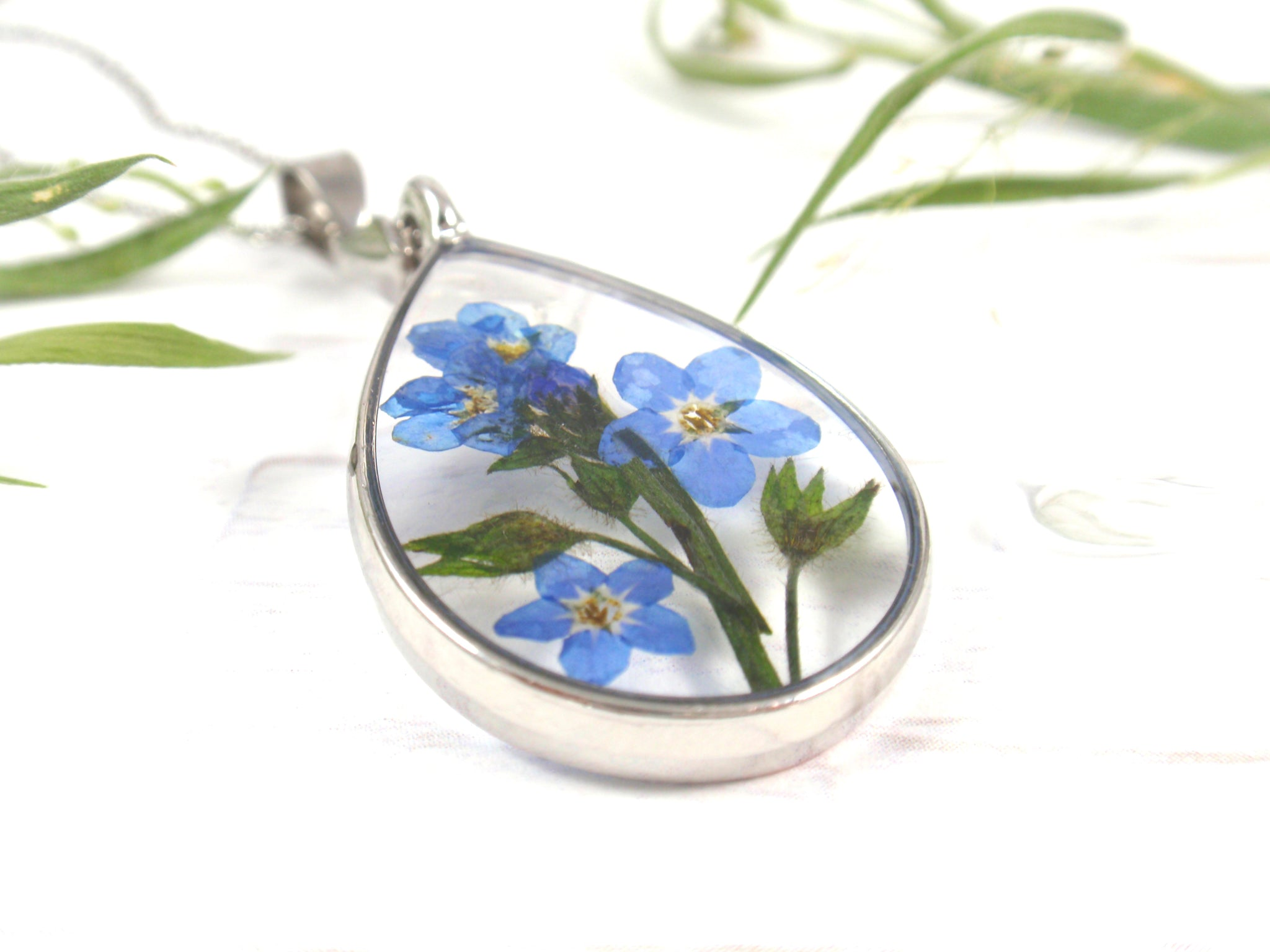 Forget Me Not flower teardrop necklace