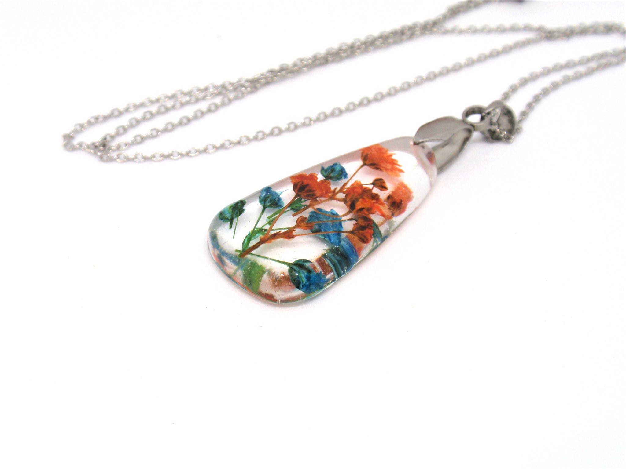 Handmade Real flower necklace Blue and Orange Baby's breath