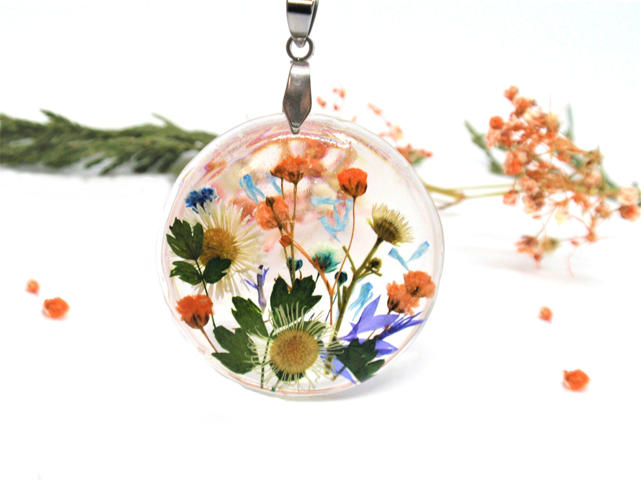 Handmade Pressed Flowers jewelry, Real Flowers necklace