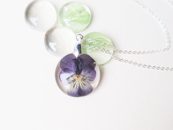 Real Pansy necklace, Botanical Resin Necklace, February birth month flower jewelry