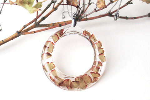Maidenhair fern hoop necklace