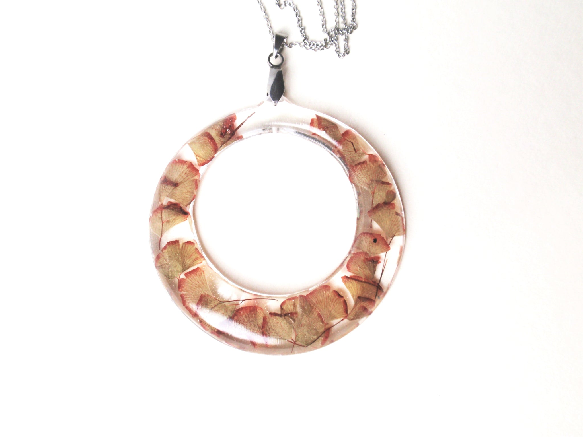 Handmade Maidenhair fern hoop necklace