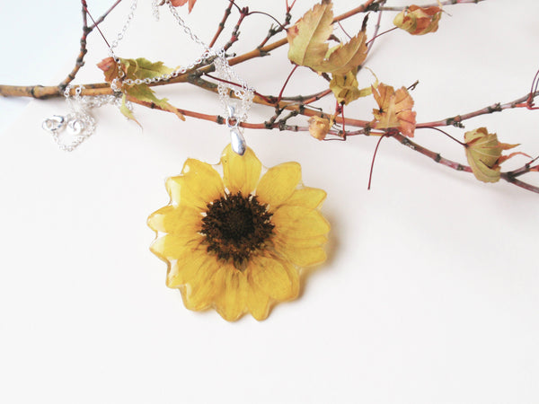 Real Sunflower pendant Necklace, Handmade Pressed Flower jewelry