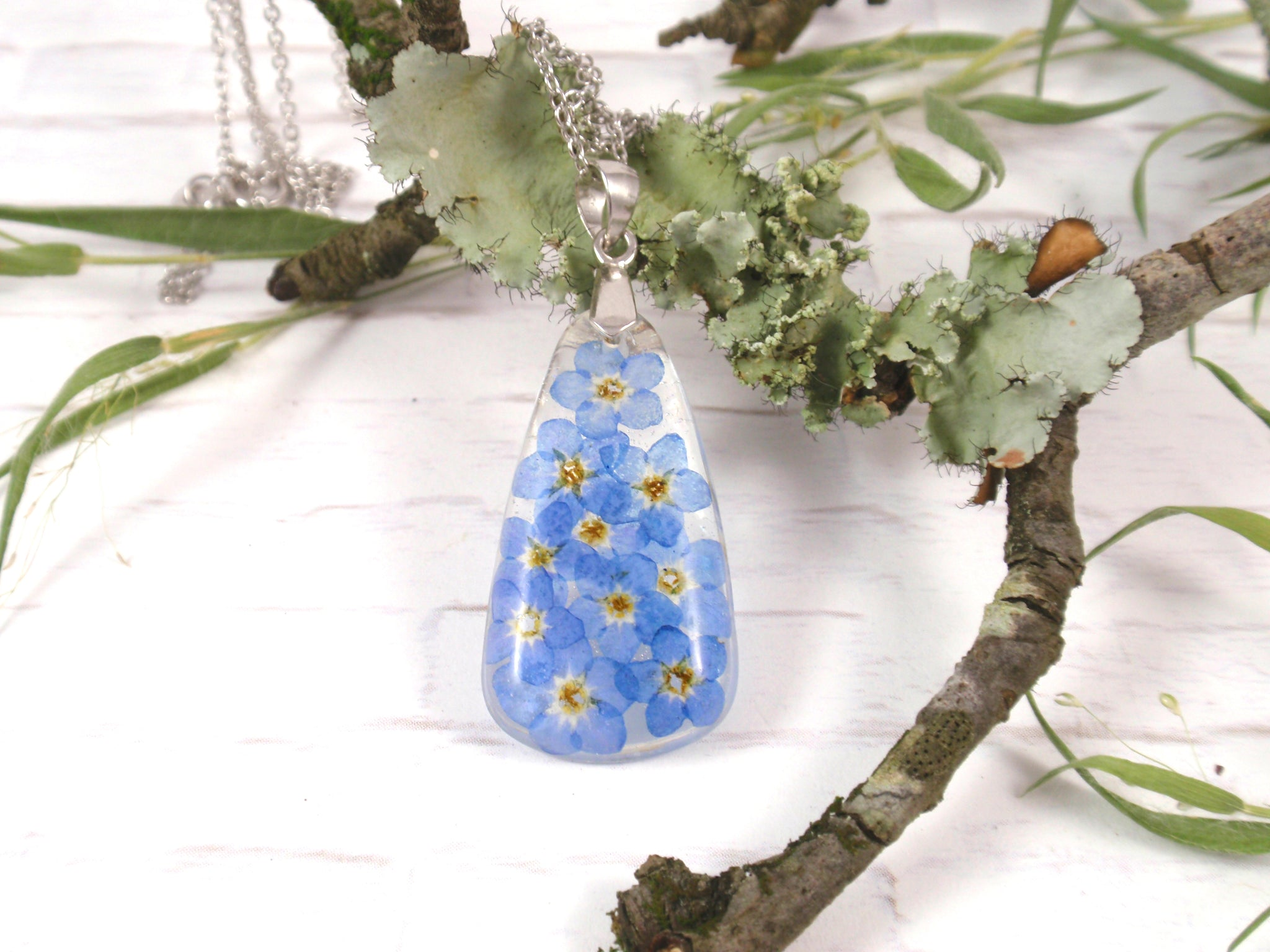 Botanical jewelry with Forget me not flowers, Handmade Real flower necklace