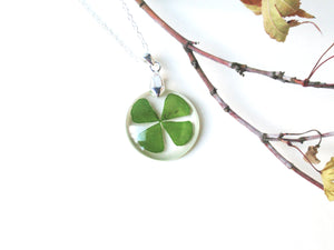 Four leaf clover resin necklace, Real clover jewelry, Lucky charm