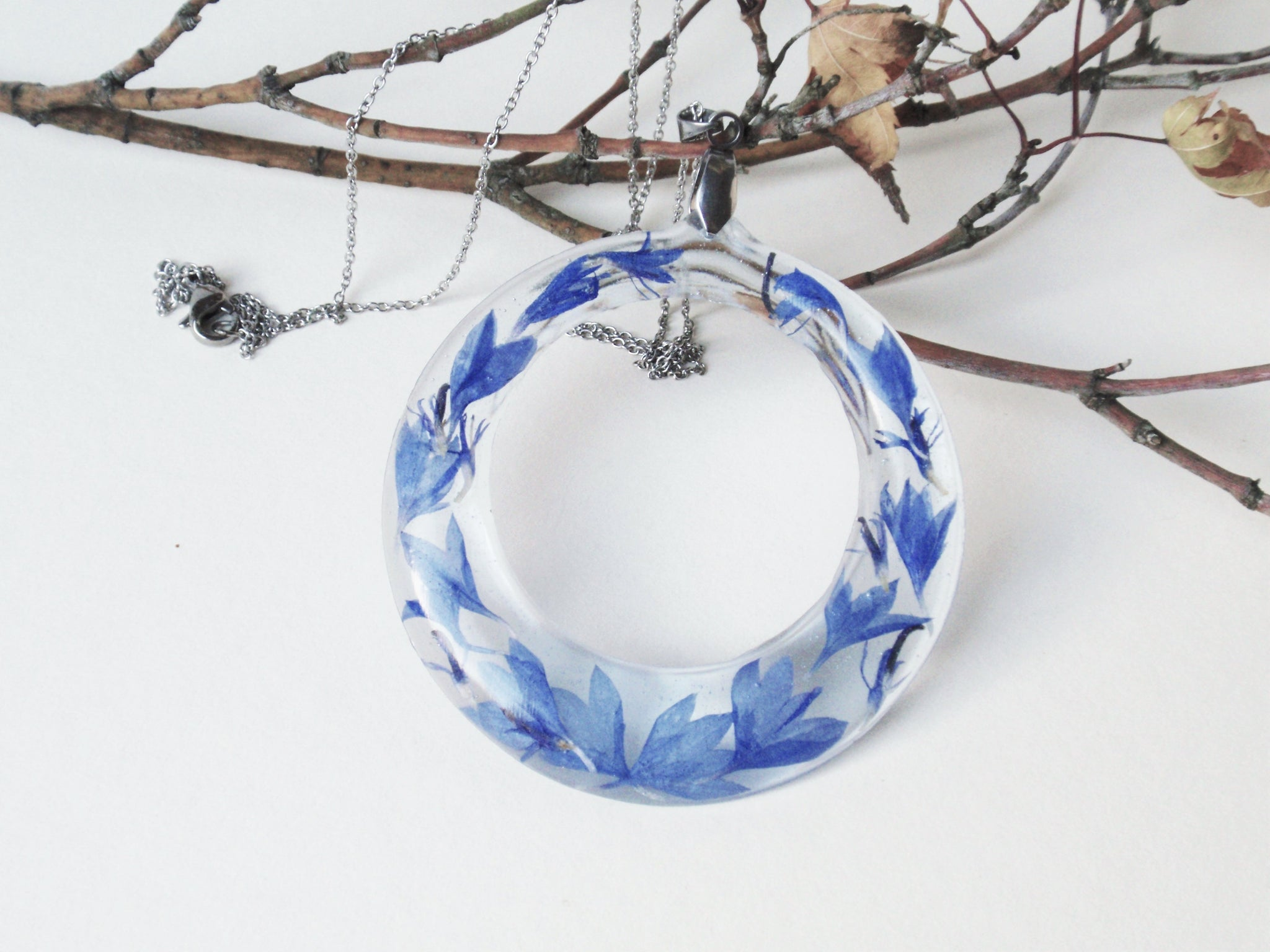 Real Flower Resin Necklace, botanical resin necklace, Blue Cornflower, bridesmaid gift