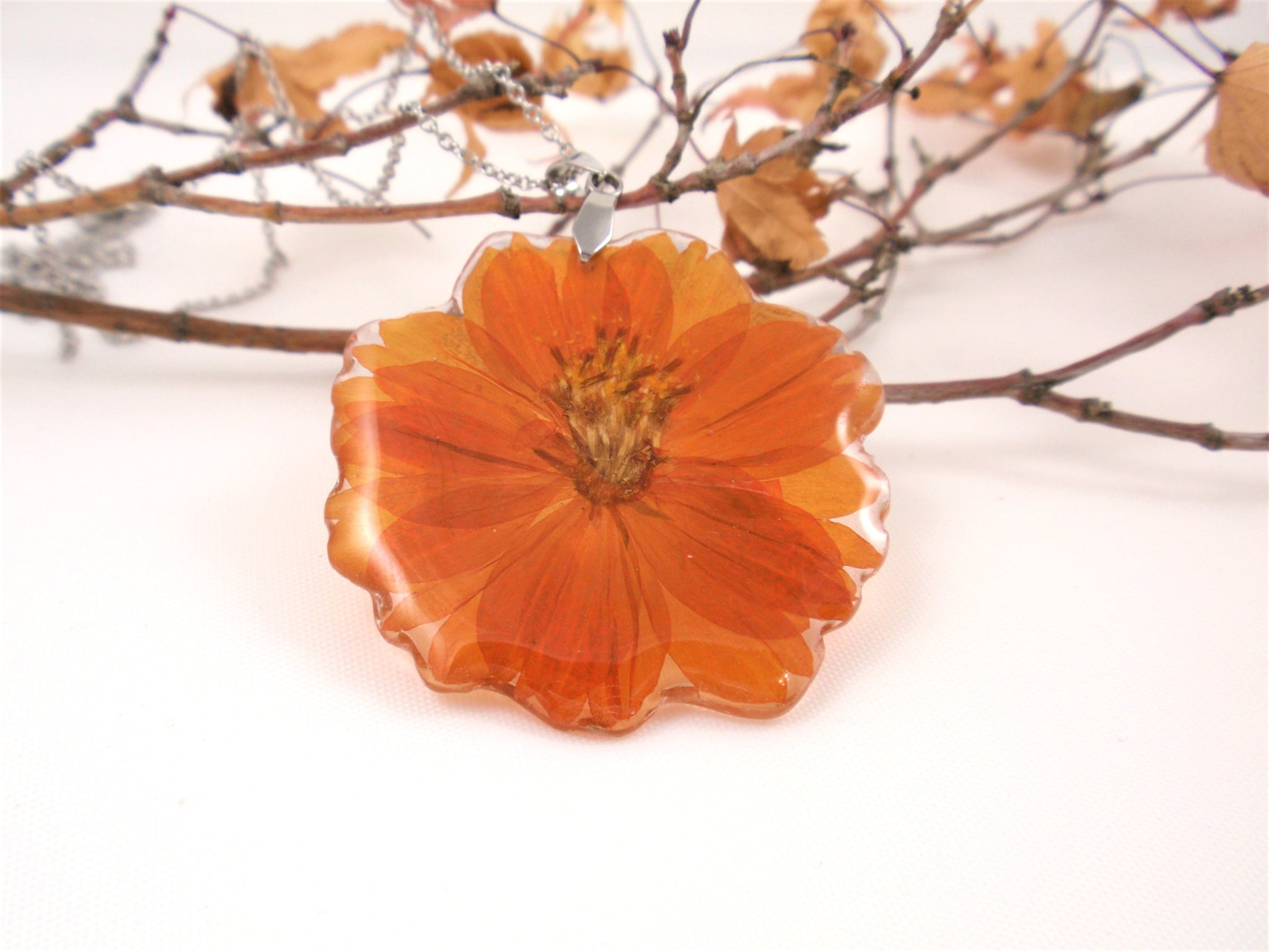 Orange Cosmos Flower Necklace Nature jewelry Birth Month October