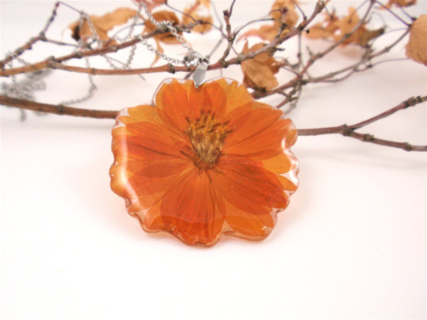 Orange Flower Resin Pendant, Nature jewelry, Birth Month October