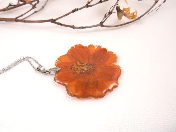 Orange Cosmos Flower Necklace, Nature jewelry, Birth Month October