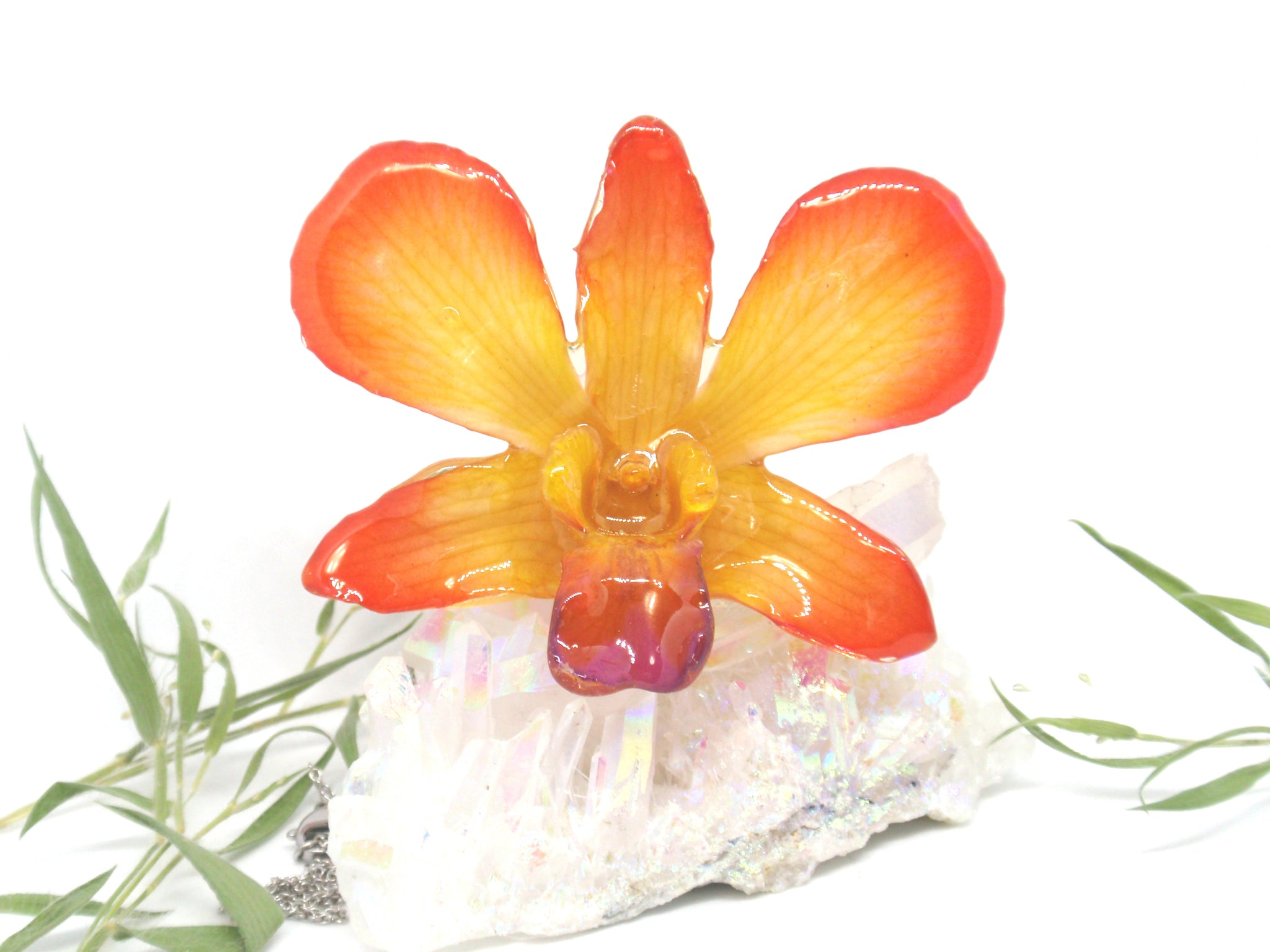 ORchid Flower Jewelry in Resin Orange Yellow