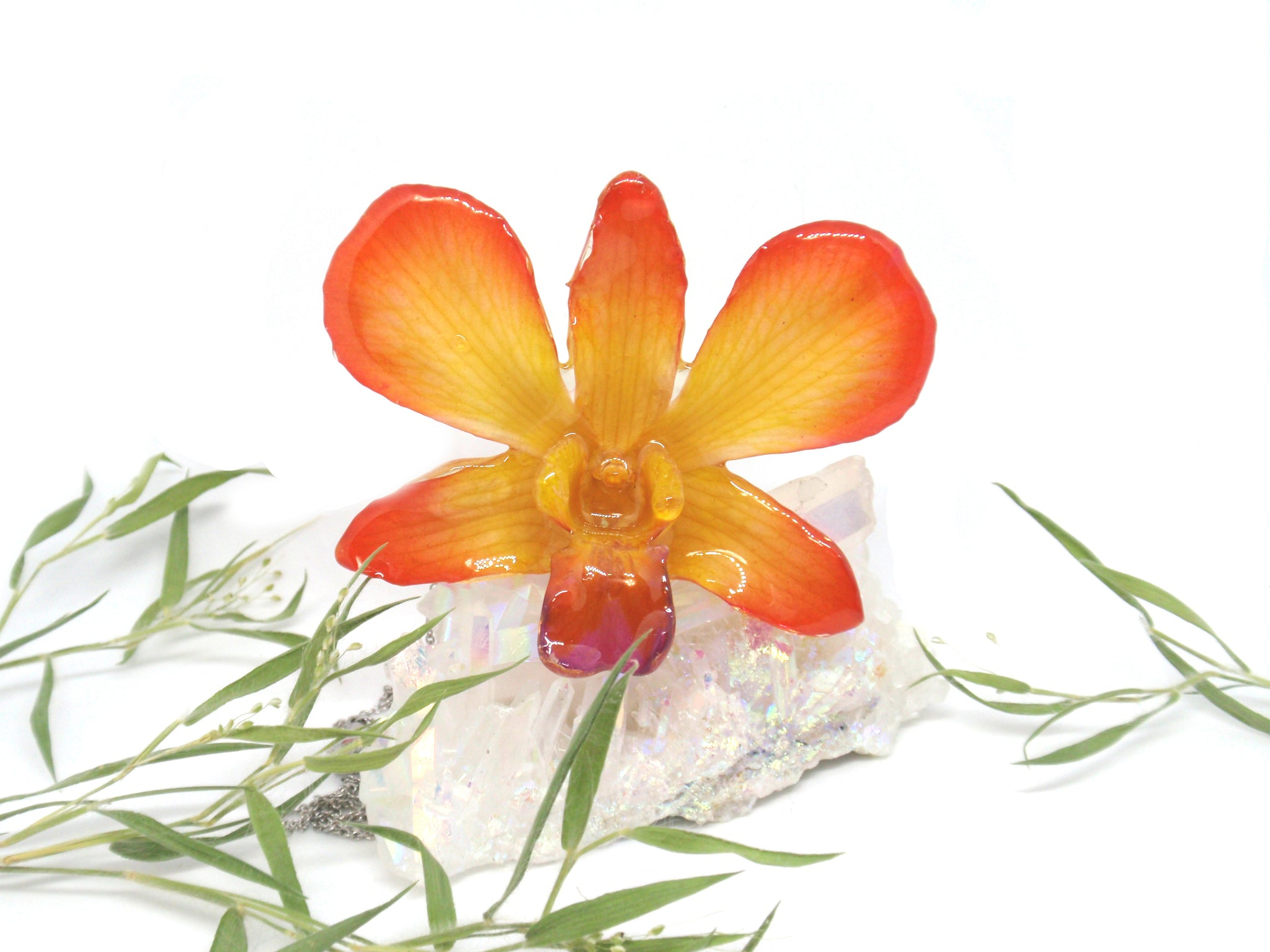 Real Orchid flower necklace Flower Jewelry in Resin Orange Yellow